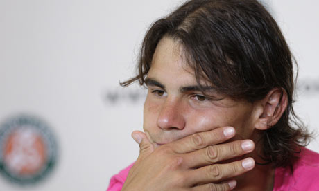 Rafael Nadal in the press room after losing the French Open