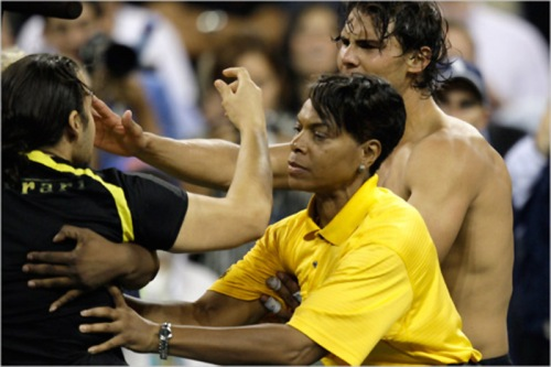 Nadal gets kissed at the 2009 US Open