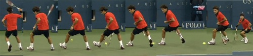 Roger Federer between legs tennis shot - 2009 US Open