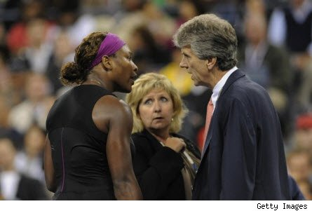 Serena Williams argues over foot fault with line judge 2009 US Open