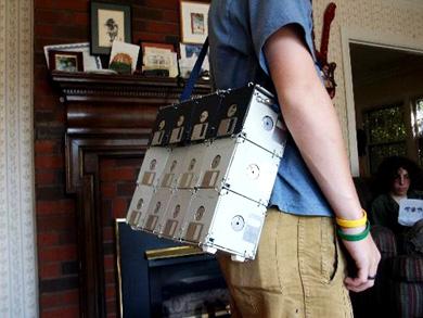 strange tennis bag floppy disks